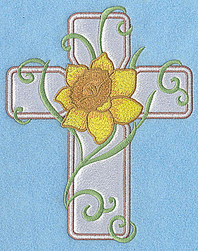 Embroidery Design: Cross applique with daffodil 6.24w X 4.96h