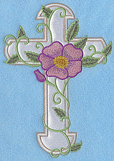 Embroidery Design: Cross applique with pansy 6.93w X 4.88h