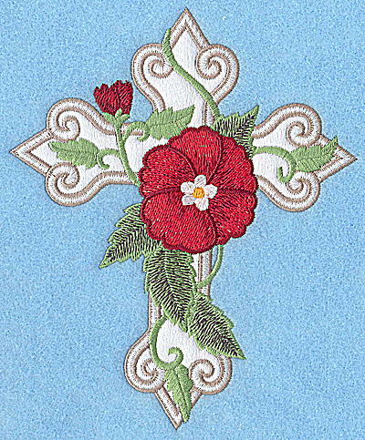 Embroidery Design: Cross applique with poppy 6.02w x 4.96h