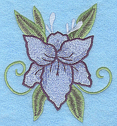 Embroidery Design: Blue flower 3.51w X 3.88h