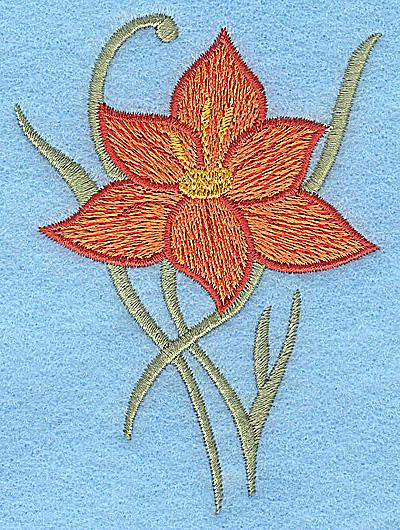 Embroidery Design: Orange flower 2.86w X 3.88h