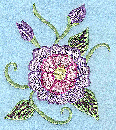 Embroidery Design: Mauve and pink flower 3.24w X 3.75h