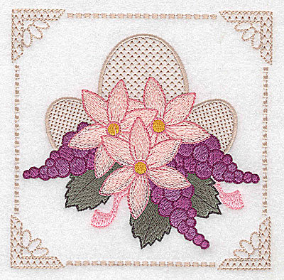 Embroidery Design: Floral design with grapes A large 4.97w X 4.96h