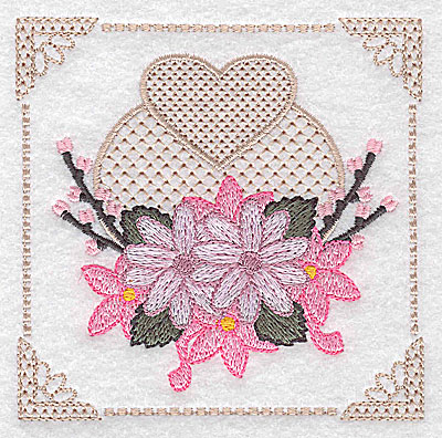 Embroidery Design: Floral design with heart B small 3.88w X 3.88h