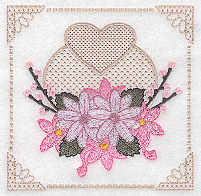 Embroidery Design: Floral design with heart B large 4.97w X 4.96h