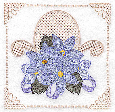 Embroidery Design: Floral design with ribbons C large 4.97w X 4.96h