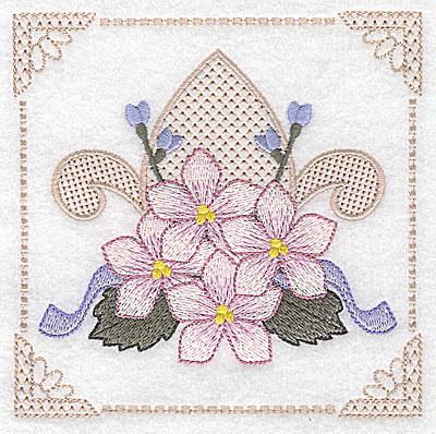 Embroidery Design: Floral design with fleur-de-lys D large 4.97w X 4.96h
