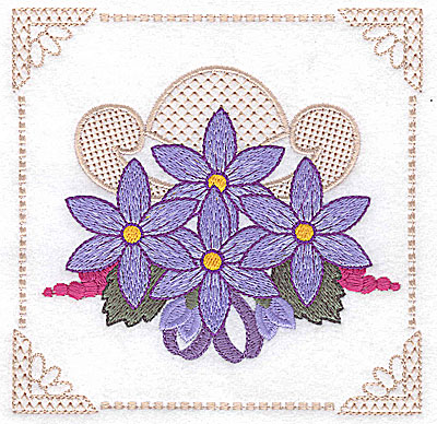 Embroidery Design: Floral design with grapes and ribbons E large 4.97w X 4.96h