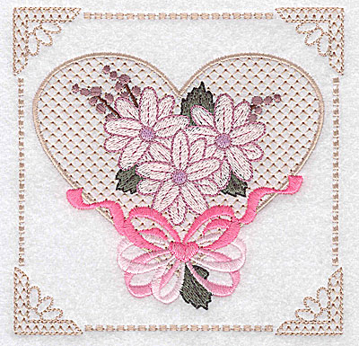 Embroidery Design: Floral design with heart and ribbons F large 4.97w X 4.96h
