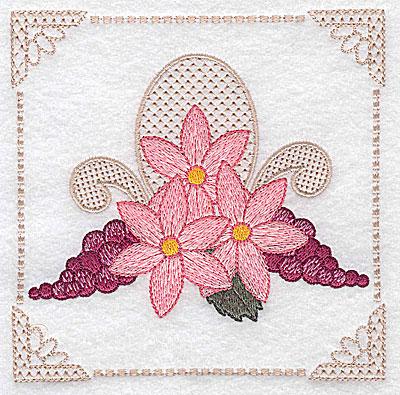 Embroidery Design: Floral design with grapes H large 4.97w X 4.96h
