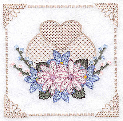 Embroidery Design: Floral design with buds and heart I small 3.88w X 3.88h
