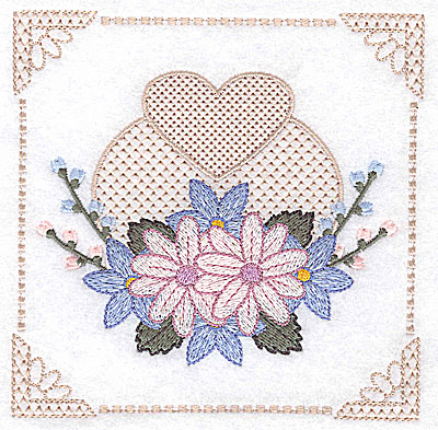 Embroidery Design: Floral design with buds and heart I large 4.97w X 4.96h