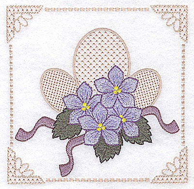 Embroidery Design: Floral design with ribbons J large  4.97w X 4.96h
