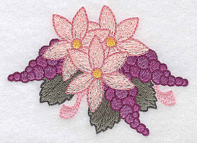Embroidery Design: Flowers and grapes A 3.52w X 2.60h