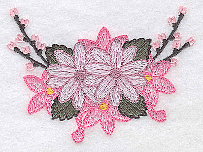 Embroidery Design: Flowers and ribbons B 3.32w X 2.42h