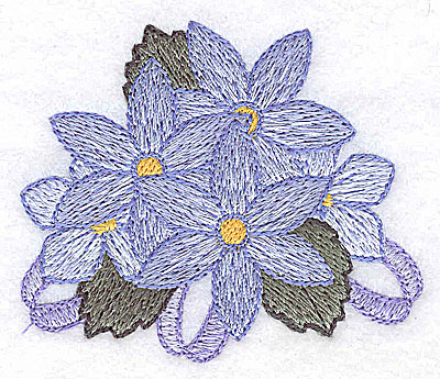 Embroidery Design: Flowers and ribbons C 2.78w X 2.38h