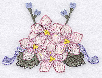 Embroidery Design: Flowers ribbons and buds D 3.42w X 2.51h