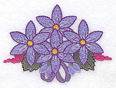 Embroidery Design: Flowers grapes and ribbons E 3.42w X 2.43h