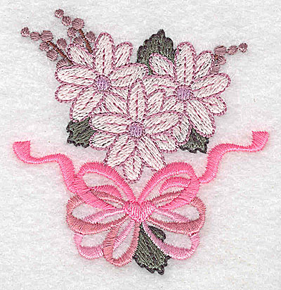 Embroidery Design: Flowers bow and ribbons F 2.79w X 2.91h