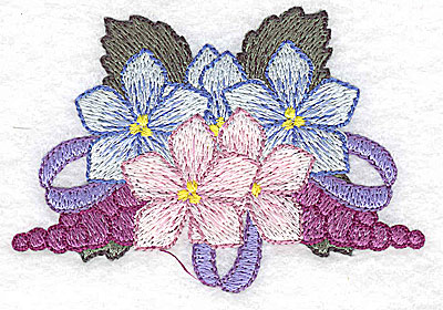Embroidery Design: Flowers grapes and ribbons G 3.44w X 2.40h