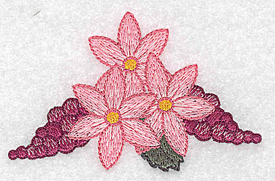 Embroidery Design: Flowers grapes and ribbons H 3.53w X 2.29h