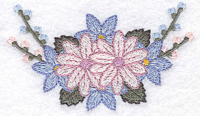 Embroidery Design: Flowers and buds I 3.44w X 1.99h