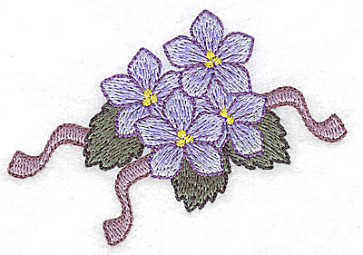 Embroidery Design: Flowers and ribbons J 3.56w X 2.42h