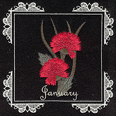 Embroidery Design: January 6.02w X 6.04h