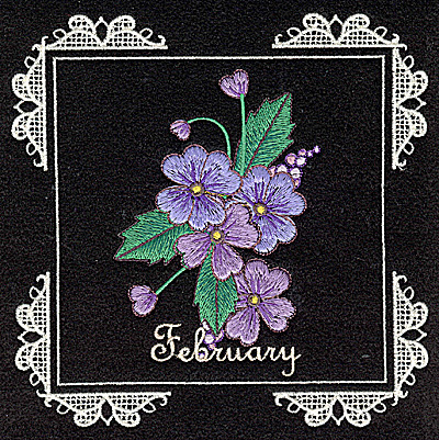 Embroidery Design: February 6.02w X 6.04h