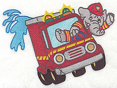 Embroidery Design: Elephant fireman in fire truck 6.41w X 4.88h