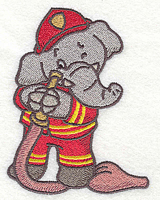 Embroidery Design: Elephant fireman with hose small 2.90w X 3.83h