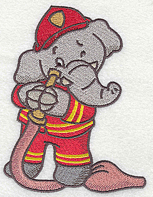 Embroidery Design: Elephant fireman with hose large 3.73w X 4.94h