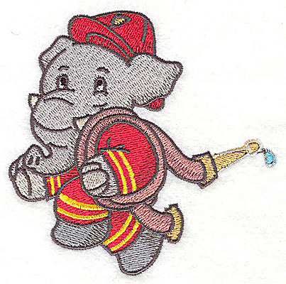 Embroidery Design: Elephant fireman carrying hose small 3.84w X 3.82h