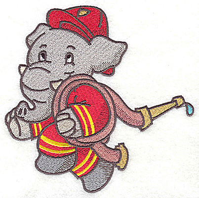 Embroidery Design: Elephant fireman carrying hose large 4.95w X 4.92h