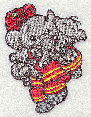 Embroidery Design: Elephant fireman rescuing little ones small 2.87w X 3.87h