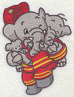Embroidery Design: Elephant fireman rescuing little ones large 3.67w X 4.96h