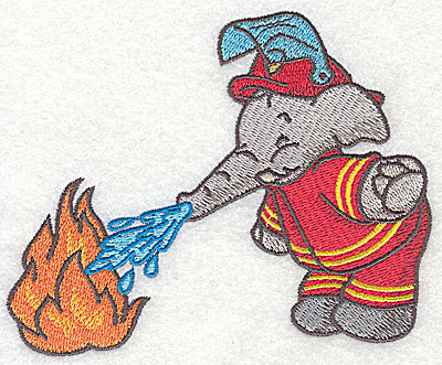 Embroidery Design: Elephant fireman dousing fire small 4.85w X 3.81h