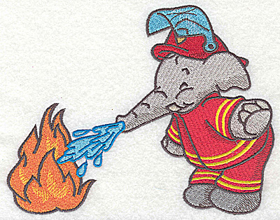 Embroidery Design: Elephant fireman dousing fire large 6.30w X 4.95h