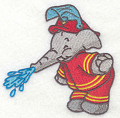 Embroidery Design: Elephant fireman trunk watering small 3.83w X 3.81h