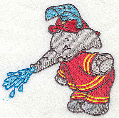 Embroidery Design: Elephant fireman trunk watering large 4.94w X 4.91h