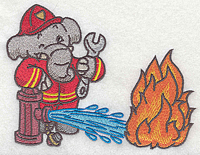 Embroidery Design: Elephant fireman at hydrant dousing fire small 5.04w X 3.84h