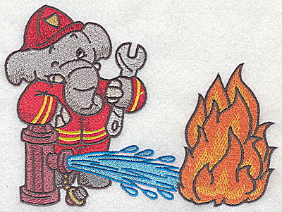 Embroidery Design: Elephant fireman at hydrant dousing fire large 6.44w X 4.92h