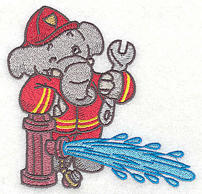 Embroidery Design: Elephant fireman at hydrant 3.83w X 3.80h