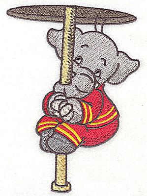 Embroidery Design: Elephant fireman on fire pole small 3.57w X 4.97h
