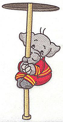 Embroidery Design: Elephant fireman on long fire pole 3.54w X 6.92h