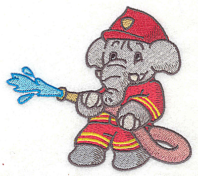 Embroidery Design: Elephant fireman fighting fire with hose small 3.88w X 3.51h