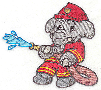 Embroidery Design: Elephant fireman fighting fire with hose large 4.97w X 4.49h