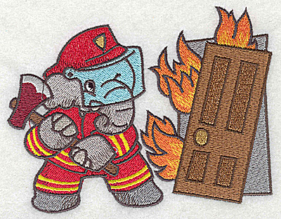 Embroidery Design: Elephant fireman with axe at burning building small 5.03w X 3.91h