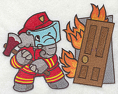 Embroidery Design: Elephant fireman with axe at burning building large 4.98w X 6.41h