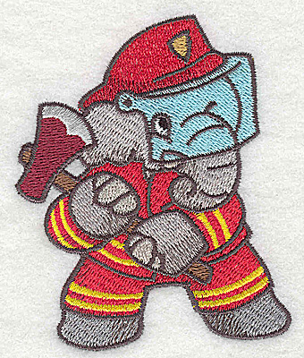 Embroidery Design: Elephant fireman with axe small 2.93w X 3.59h